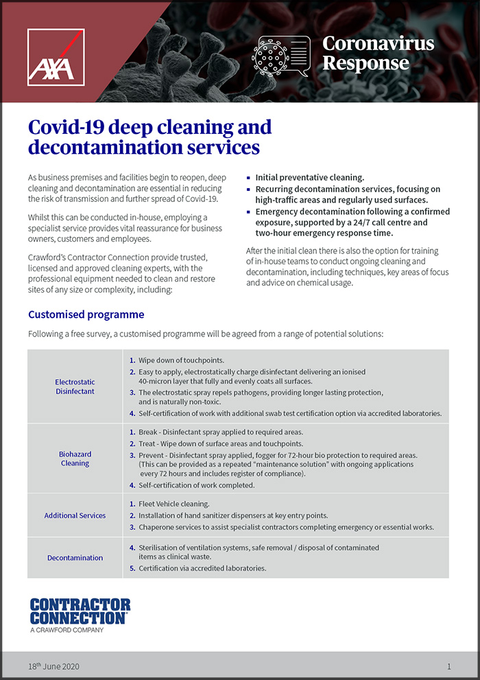 Crawford's decontamination guidance