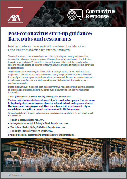 Post‑coronavirus start‑up guidance: Bars, pubs and restaurants