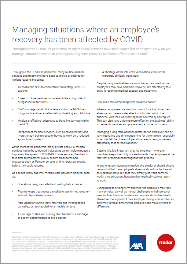employee recovery from covid gudance